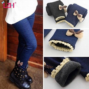 LZH 2020 Winter Autumn Fashion Kids Bow Lace Pants For Girls Velvet Padded Leggings Children Trousers For Girls Clothing 3-10Y J1221