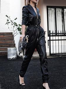 Nerazzurri longues en simili-cuir noir femmes salopette fermeture à glissière manches longues Plus la taille PU cuir salopettes pour les femmes Streetwear 201007