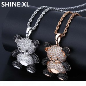 New Fashion Cute Panda Pendant Necklace Iced Out Full Cubic Zircon Animal Necklace for Mens Women