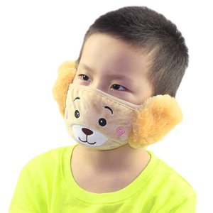 6style 2 Mouth Thick Warm Cartoon Bear Mouth-Muffle In And Kids 1 Earmuffs With Plush Kids Mask Masks Winter Fa GGA3660-6 6style 2 Mou Fquf