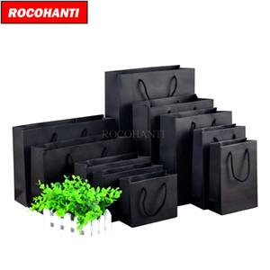 50PCS 250grams كيس ورقي الأسود الكرتون مع سلسلة للتسوق الملابس مخصص مطبوعة استعرض F2122 Q1109