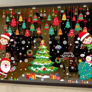 [Shijuekongjian] Etiqueta de la ventana de Navidad DIY BELLS TREEA Santa Claus Calcomanías de la pared para la sala de estar Festival de vidrio decoración