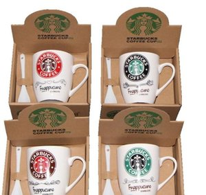 Latest 1-400ML Starbucks Ceramic Cup Creative Ceramic Mug 5 Styles Coffee Cup Milk Cup with Spoon Free Shipping