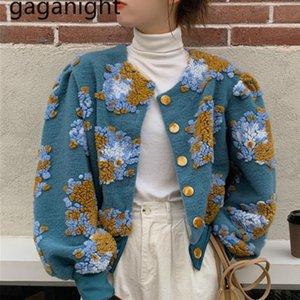 Gaganight Vintage Femmes élégantes Veste Fashion Hiver manteau d'hiver Lanterne Lady Chic Floral Cardigan Coréen Outwear Hops