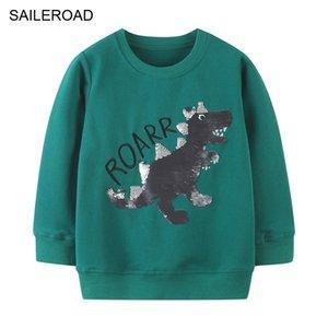 Saileroad Baby Boys Sweatshirts Dinossauro Sequina Miúdos Moletom Com Moletons Meninos Novos Camisolas Para Crianças Vestuário 201125