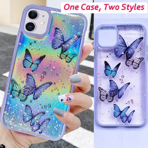 Gradient Rainbow Laser Butterfly Case for IPhone SE 2020 11 Pro Max Xs X Xr 8 7 Plus 6 6s 12 Mini Glitter Clear Silicone Cover