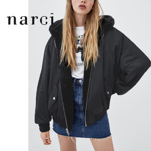 narci Ladies Reversible Hooded Jacket Faux Fur Fleece For Winter Womens Tops Bomber Jackets Coats Black Outwear With Long Sleeve 201021