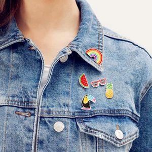New Pineapple Toucan Rainbow Lips Juice Sunglass Watermelon Hat Guitar Brooch Jacket Badge Fashion