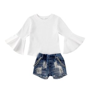 Girl Suit Baby Flare Sleeve Knitting White Loose Sweater Tops Short Chain Jeans Spring Fall Girls Clothes Set