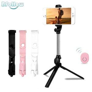 BFOLLOW 3 em 1 sem fio Bluetooth selfie vara para com tripé dobrável Monopod Handheld Tiktok Video Call XT10