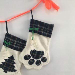 2019 Рождественский чулок Кошка Собака Paw Пушистый Санта Носки Снежинка Xmas Tree Parttern Рождественский подарок сумка EEE2686