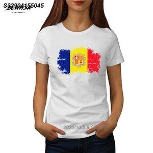 Bandera de Andorra Nacional de la camiseta de las mujeres de verano de manga corta camiseta de algodón femenino de estilo nostálgico Andorra mujeres de la bandera camisetas 5414510