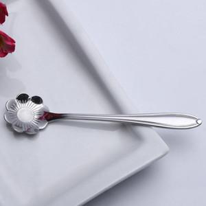 5pcs Set Storageware Flower Shape Zucchero Acciaio inox Acciaio inox Sunflower Tea Cucchiaino Cucchiaini da caffè Cucchiaini da cucina Ice Platware Strumento da cucina H WMTCCO