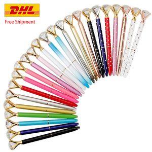 Customizable Ballpoint Pen Metal BallPen Diamond Crystal Pen student Ballpoint Pen Fashion School Office Supplies Free DHL