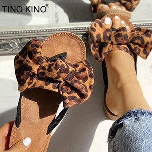 TINO KINO Women Bowtie Leopard Summer Flats Casual Slippers Female Beach Flip Flops Comfort Fashion Slip On Clip Toe Shoes1