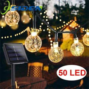 Holiday Light Led Solar 20 50 LEDS Crystal ball 5M 7M LED String Fairy Lights Solar Garlands Garden Christmas Decor For Outdoor 201023