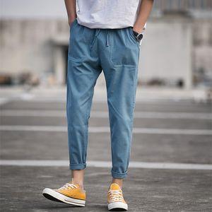 Plus-sized Menswear Casual Pants Male Loose Capri-pants Korean Version Fashion Linen Slacks Gang Feng Japanese Men's Cotton