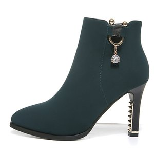 High-heeled shoes female new rhinestone pointed apron women's waterproof platform thick with short tube women's boots 201022