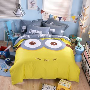 Minions Cartoon Yellow Cotton bedding sets Twin Queen Size 3pcs 4pcs Bed Linen Bed Sheets Autumn Winter Spring Duvet Cover Set 1012
