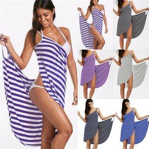 Plus Size Beach Towel Women Robes Bath Wearable Stripe Towel Dress Girls Fast Drying Beach Spa Magical Nightwear Sleeping