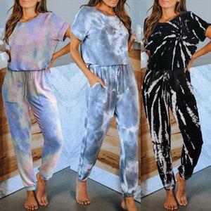 Casual Women Pants Set Tie Dye Short Sleeve T Shirt Harem Pants Suit Female Loose 2 Piece Outfits Women Two Piece Sets