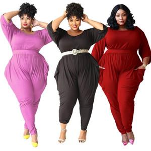 Katı Renk Sonbahar Kadın Tulumlar Yarım Kollu Ekip Boyun Sıska Tulum Rahat Artı Boyutu Kadın Giysileri