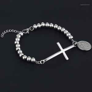 Stainless Steel Virgin Mary Pendant Bracelet Women Cross Beads Charm Statement Jewelry Mother Gifts Pulseras SL251