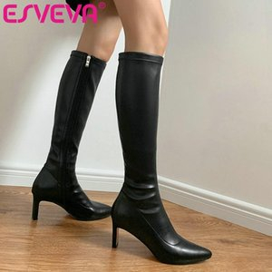 ESVEVA 2021 Square High Heel PU+Leather Knee High Boots Women Boots Shoes Pointed Toe Fashion Zipper Size 34-43