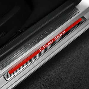 Interior Decoration Moulding Door Sill Scuff Plate Guards Carbon Fiber Door Sills Protector Stickers for Mercedes C Class W204