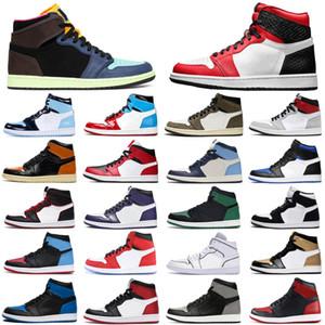 2020 وصول جديد الباروك البني 1 jumpman الأحذية 1S من الرجال والنساء لكرة السلة الساتان ثعبان حجر السج UNC tubro الخضراء الرجال المدربين أحذية رياضية الرياضة