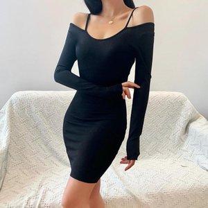 CHRONSTYLE 2020 Mujeres tendencia de la moda de otoño atractivo del mini vestido de manga larga Hombro Negro ahueca hacia fuera apropiado delgado vestido de Clubwear