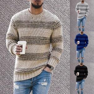 Gli uomini di maglia a strisce maglione autunno o collo maschile Maglieria Pullover casuali dimagriscono O collo di lavoro a maglia Jumper Maglioni Sueter XL
