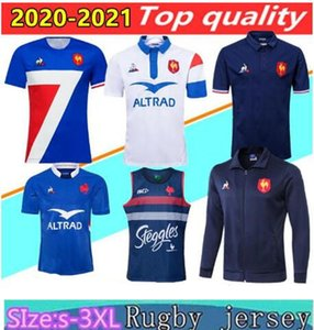 20/21 França Super Rugby Jerseys colete com revestimento 2020 France Camisetas Rugby Maillot de Foot Francês BOLN Rugby camisa jaquetas Tailândia