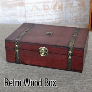 Hot Wooden Vintage Lock Treasure Chest Jewellery Storage Box Case Organizer Ring Gift LJ200812