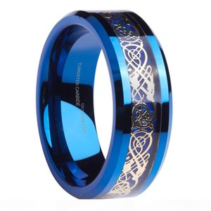 Queenwish Engagement Rings 8mm Blue Tungsten Ring Gold Celtic Dragon Blue Carbon Fibre Inlay Wedding Anniversary Rings For Couples Jewelry