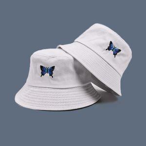 블루 나비 하라주쿠 어부의 모자 자외선 차단제 캐주얼 해변 태양 모자 야외 유니섹스 양동이 모자 접이식 코튼 파나마 모자