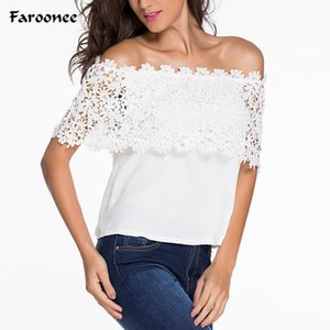 Faroonee New Summer Fashion Crochet Lace Blusa Donne Sexy off Spalle Donne Tops Plus Size 6xL Camicie in chiffon 6Q04521