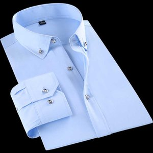 Мужские рубашки платья с длинным рукавом Мода Бизнес Алмазные Кнопки Формальное Slim Fit Офис Рабочая PAOLO Sirum