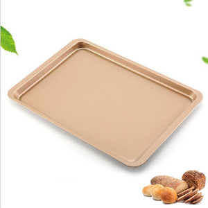 Carbon Steel Baking Sheet Pan 14 Inch Cake Cookie Pizza Tray Baking Sheet Plate Rose Gold Non-stick Rectangle Baking Pan 172 J2