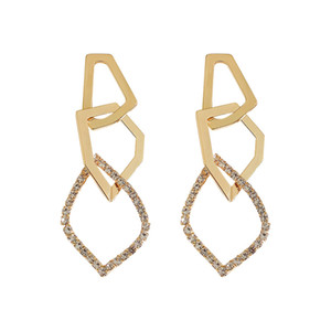 Fashion Irregular Geometric Drop Earring for Women Exaggerate Golden Rhinestone Dangle Earrings
