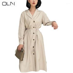 Oln Koreanische Neue Ankunft Großhandel Temperament-Version Anzugkragen langer Abschnitt mit Windjacke Kleid Herbst1