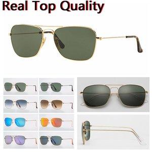 الرجال النظارات الشمسية مصمم النظارات الشمسية الزجاج ظلال الأشعة فوق البنفسجية حماية العدسات الزجاجية مع حقيبة جلدية أعلى جودة، القماش وجميع حزم البيع بالتجزئة