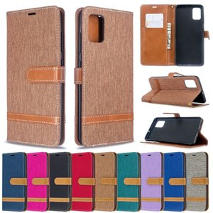 Retro Denim Jeans Canvas Wallet Leather phone Case For Samsung S20 S21 Note 20 Ultra A12 A32 A42 A72 A72 A02S card slot flip kickstand