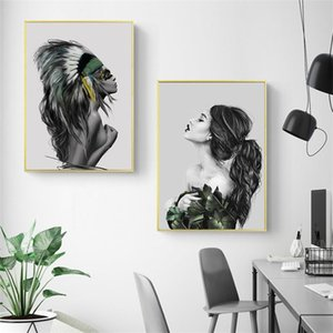 Posters and Prints Feather Woman Pictures Women Indians Oil Painting Canvas Wall Art Pictures for Living Room Home Decoration