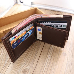 Thinkthendo Fashion Men Short Leather Id Credit Cardholder Billfold Portemonnee Clutch Male Brief Print Photo Wallet