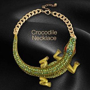 Joyería punky del collar de cocodrilo / lagarto / camaleón Joyería fresca colgante animal del collar con el Rhinestone de acrílico para las mujeres / niñas adolescentes