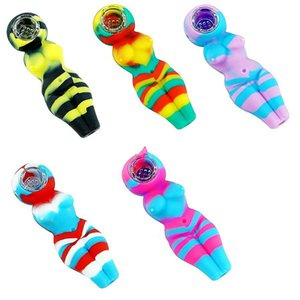 4.1 inch Lady pipe smoking pipe silicone Unbreakable hand pipes bowl tobacco Oil Rigs Hookahs Portable T