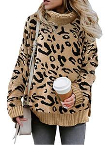 Leopard Cuello alto para mujer Suéteres Otoño Invierno largo flojo de la manga mujeres ocasionales diseñador atractivo de las tapas calientes de la venta