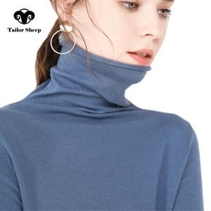 TAILOR SCHAF Kaschmir-Pullover Frauen lässig mit langen Ärmeln Rollkragen Wollpullover Winter Damen Strickoberteile grundiert 201023