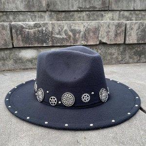 Handmade Steampunk Wool Women Men's Fedora Hat Acrylic Gems Wide Brim Jazz Cap Vintage Panama Sun Top Hat